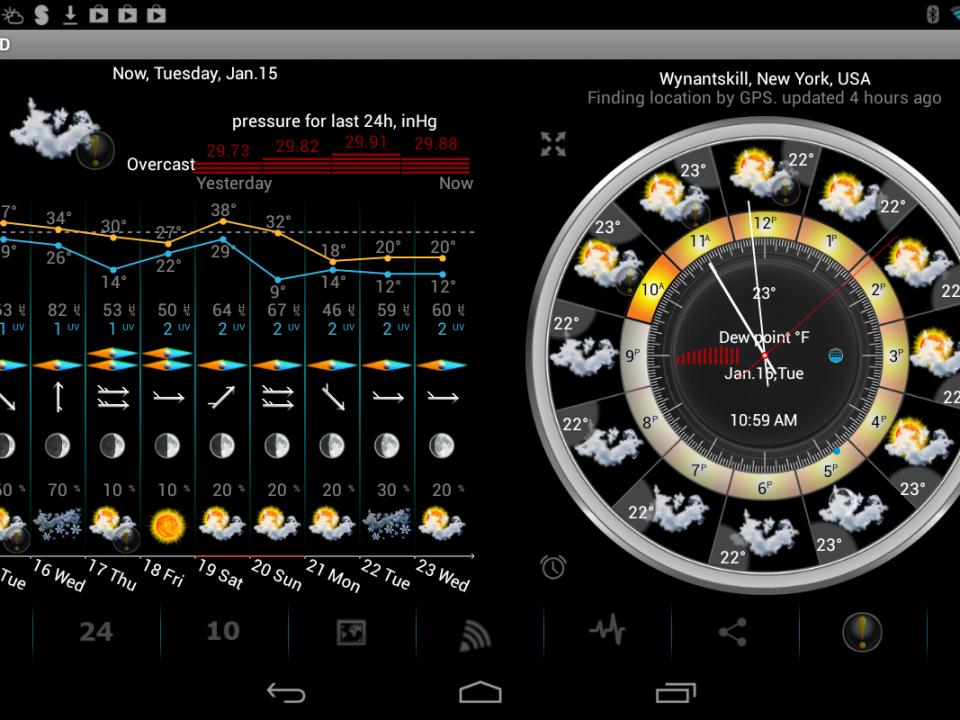 معرفی اپلیکیشن پیش بینی وضعیت آب و هوا eWeather HD