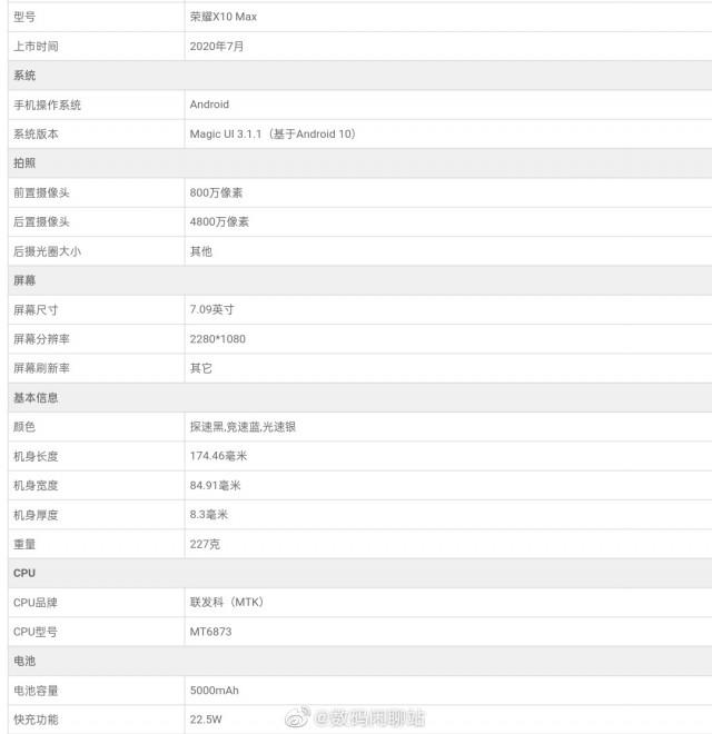 مشخصات گوشی Honor X10 Max